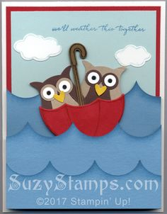 Stampin' Up! Cards - 2017-02 Class - Weather Together stamp set, Umbrella Weather Framelits Dies and Owl Builder Punch