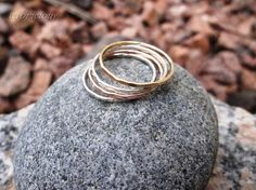 Stacking Rings in Silver and Yellow and Pink by capriciousme, $35.00