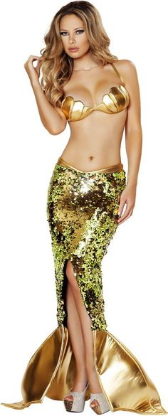 Sultry Sea Siren Mermaid Sexy Sequin Skirt Halloween Costume Outfit Adult Women