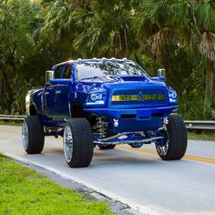 Trucks with Attitude: Custom Dodges Lifted Trucks. Awesome Blue Lifted Dodge Ram with custom touches. Dodge Diesel, Cummins Diesel, Dodge Cummins, Diesel Trucks, Dodge Dually, Mopar, Dodge Trucks Lifted, Lifted Ram, Ram Trucks