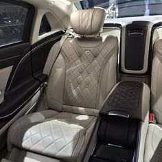 The Mercedes-Maybach S600 is highlighted by hand-stitched Nappa leather throughout the interior—including the headliner, pillars and entire seats.