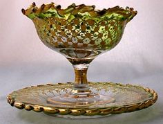 "Moser art glass gilt green to clear fringe sherbet and underplate, 4 1/4"" d. from Nickadaemous Glass Antiques  on Ruby Lane"