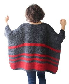 Inspiration Poncho Plus Size - Over Size Sweater Dark Gray - Red Hand Knitted Sweater with Pocket Tunic - Sweater Dress by Afra Easy Sweater Knitting Patterns, Hand Knitted Sweaters, Knit Patterns, Hand Knitting, Knitting Sweaters, Knitted Poncho, Dress Patterns, Crochet Shawl Free, Pull Crochet