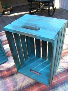 Nine Red: DIY Antique Crate End Tables Have one, will do for boys rooms. Crate End Tables, Diy End Tables, Milk Crates, Wood Crates, Metal Outdoor Side Table, Wood Crate Diy, Distressing Painted Wood, Distressed Furniture, How To Distress Wood