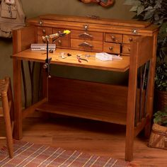 Include extra storage space to your workspace with the Willow Run Fly Tying Desk from the Lodge Collection. It is made with the mix of birch & cherry veneer finish and comes with drop-front panel and