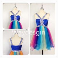 V-neck A-line Tulle Belt Beaded Rainbow  Knee Length Prom Dress/Cocktail Dress/Party Dress/Bridesmaid Dress