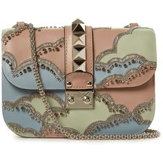 Valentino Lock small cloud-embellished shoulder bag ($2,726) ❤ liked on Polyvore featuring bags, handbags, shoulder bags, pink multi, valentino handbags, beaded purse, brown shoulder bag, valentino purses and pink handbags