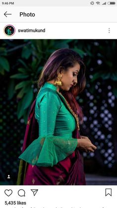 Saree Blouse Neck Designs, Fancy Blouse Designs, Bridal Blouse Designs, Stylish Blouse Design, Saree Trends, Designer Blouse Patterns, Indian Bridal Fashion, Blouse Models, Malu