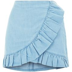 Blue Cotton Frill Wrap Skort ($36) ❤ liked on Polyvore featuring golf skirts, blue skort and wrap skort