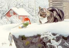 There are times when cats of the High North forget Gnomes are their friends. Illustration Noel, Illustrations, Scandinavian Art, Scandinavian Christmas, Baumgarten, Image Chat, Gnome House, Christmas Gnome, Christmas Animals