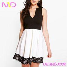 women cheap lace hem contrast skater dress sleeveless dress