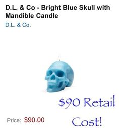 D.L. & Co - Bright Blue Skull With Mandible Candle