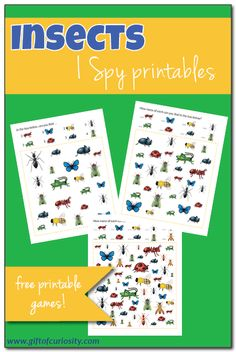 Free Insects I Spy Printables with realistic looking images of insects and three levels of difficulty. Great for kids of multiple ages. Insect Activities, Science Activities For Kids, Preschool Themes, Spring Activities, Kindergarten Activities, Language Activities, Insects For Kids, Bugs And Insects, Insect Crafts