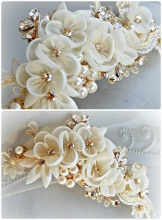 Gold Bridal Headpiece Ivory and Champagne by TheRedMagnolia Floral Headpiece, Headpiece Wedding, Bridal Headpieces, Braut Make-up, Hair Decorations, Kanzashi Flowers, Diy Headband, Silk Ribbon Embroidery, Fabric Jewelry
