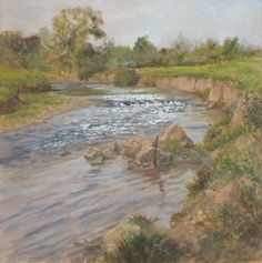 Calm On The Culm appearing in A Sense of Devon oil painting exhibition by Julie Dunster Devon, Landscape Paintings, Calm, In This Moment, Artist, Life, Artists, Landscape, Landscape Drawings
