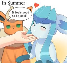 Requested by Glaceon standing up on his hind legs and purring The best way to keep cool in summer Pokemon Eeveelutions, O Pokemon, Pokemon Comics, Pokemon Funny, Pokemon Fan Art, Pikachu, Cute Pokemon Pictures, Pokemon Images, Cool Pokemon Cards