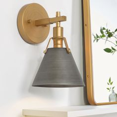 LNC Nero 6-in W 1-Light Gold and Gray Modern/Contemporary Wall Sconce in the Wall Sconces department at Lowes.com Transitional Wall Lighting, Contemporary Wall Sconces, Modern Contemporary, Industrial Wall Lights, Modern Industrial, Bathroom Vanity Lighting, Bathroom Wall Sconces, Light Bathroom, Wall Sconce Lighting