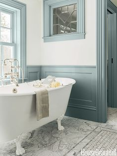"Beautiful New bath to fit into an old home - love the floor with basket weave pattern ""rug"""