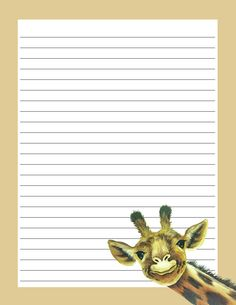 Giraffe Printable Lined Paper, Free Printable Stationery, Printable Letters, Cool Writing, Letter Writing, Lined Writing Paper, Writing Papers, Cute Journals, Borders For Paper