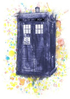 Tardis in Wibbly Wobbly Watercolor Art Print