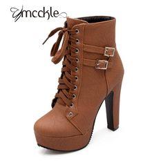 Купить MCCKLE 2016 Осень Зима Женщины Ботильоны на высоком каблуке зашнуровать кожа двойной пряжкой платформы короткие пинетки новый черный X0761и другие товары категории Сапоги и ботинкив магазине MCCKLE WOMEN StoreнаAliExpress. обувь hells и держатель для обуви