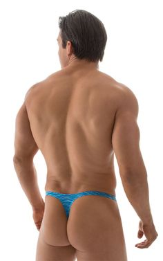 19a72c929f T Back Thong Swimsuit - Bravura Pouch in Turquoise Royal Strata by Skinz Skinny  Sides,