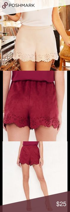 "NWT LC Lauren Conrad Faux-Suede Shorts NWT LC Lauren Conrad Faux-Suede Shorts. Laser cut design on the hem, two pockets, lined, 3 1/2"" inseam, midrise, elastic waistband, light pink (blush) color. 100% Polyester. LC Lauren Conrad Shorts"