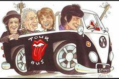 Rolling Stones Album Covers, Rolling Stones Logo, Rock And Roll Bands, Rock N Roll, Caricatures, Rock Vintage, Combi Vw, Volkswagen Bus, Tree Quilt