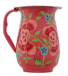 Hand Painted Enamel Floral Jug