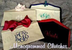 Handmade Monogrammed Linen Clutches Check out this item in my Etsy shop https://www.etsy.com/listing/227887149/handmade-monogrammed-linen-clutch