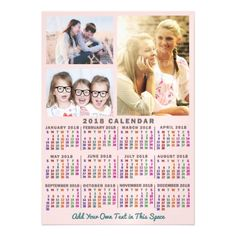 2018 Year Monthly Calendar Colorful Custom 3 Photo Magnetic Card