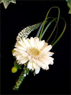 Designer Grooms Buttonhole - Wild and Green Flowers