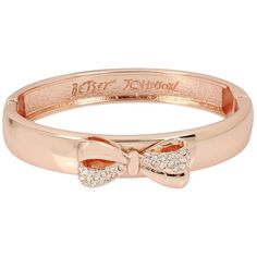 Betsey Johnson Gifting Bow Bangle ($35) ❤ liked on Polyvore featuring jewelry, bracelets, crystal, hinged bracelet, bracelets bangle, betsey johnson jewelry, betsey johnson and rose jewellery