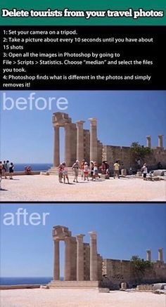 Delete tourists from your travel photos using Photoshop. I don't have Photoshop, but if I ever do, this will come in handy! Fotografia Tutorial, Foto Fun, Photos Voyages, Photoshop Tutorial, Photoshop Youtube, Photo Tips, Picture Day Tips, Photo Ideas, Nice Picture