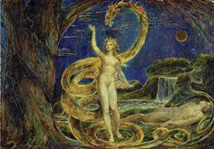 William Blake - Eve Tempted by the Serpent - Vintage Wall Art Print Michael Howard, Tantra, William Blake Art, William Blake Paintings, Origin Of Christianity, Agony In The Garden, Early Church Fathers, Art Uk, Victoria And Albert Museum
