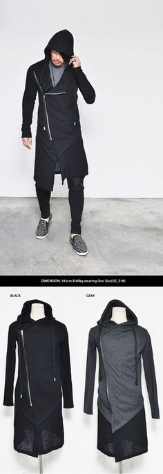 Tops :: Hoodies :: Extended Oblique Big Hood Rope Jacket-Hoodie 66 - Mens Fashion Clothing For An Attractive Guy Look