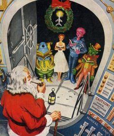 talesfromweirdland:Ed Emshwiller illustration for the cover of... talesfromweirdland: Ed Emshwiller illustration for the cover of Galaxy Science Fiction magazine December 1953. Happy holidays!