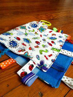 Crinkle tag rag sensory blanket bug theme with by NapTimeMakings, $12.00
