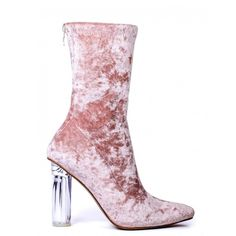 DIP IT LOW PINK VELVET BOOTS WITH PERSPEX HEELS (£38) ❤ liked on Polyvore featuring shoes, boots, pink, velvet, transparent heel boots, clear-heel shoes, shiny boots, back zip boots and high heeled footwear