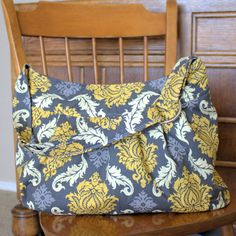 The Shopper in Golden Damask Medium Gold and Gray Purse by jjonni, $59.00