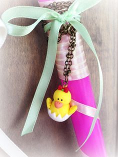 Easter Candle with a little Chic Necklace _ Easter Collection _ Special Edition _ Polymer clay by MarisAlley on Etsy Easter Candle, Polymer Clay, Candles, Christmas Ornaments, Chic, Unique Jewelry, Holiday Decor, Handmade Gifts, Etsy