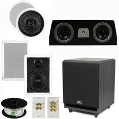 Theater Solutions 51 Home Audio Speakers 4 Speakers 1 Center 8 Powered Sub and More TS50CWC51SET3 *** More info could be found at the image url.Note:It is affiliate link to Amazon.