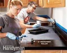 Ideas for Updating a Kitchen: Pinner says to use Rust-Oleum's new Countertop Transformations coating system is a simple way to transform worn or damaged laminate countertops into a new countertop surface. This product can be applied to any laminate or har