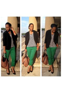 Kelly Green and Stripes green pants black blazer white and black striped top