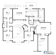 Upper Floor Plan of Mascord Plan 2432A - The Benedict - Stately European Style Home Fit For Royalty