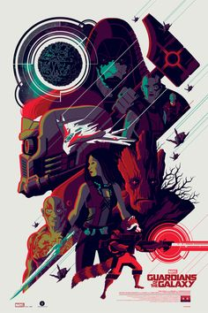 "Officially Licensed, Screen printed poster art - Tom Whalen - ""Guardians of the Galaxy"" - Limited Edition - Marvel Comics Movie Poster - Print Run: 250 Poster Marvel, Marvel Comics, Marvel Movie Posters, Superhero Poster, Bd Comics, Movie Poster Art, Marvel Art, Marvel Heroes, Fan Poster"