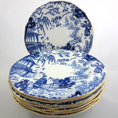 Royal Crown Derby pattern, Mikado above. Salad plates in a very distinctive blue & white pattern trimmed in 24k.