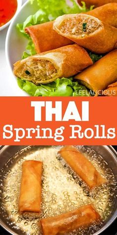 This Thai spring rolls recipe is just what you need for party appetizers at any time of year. They have a crispy exterior and are filled with glass noodles and veggies. Especially dipped in the Thai sweet chili sauce, these are a guaranteed hit. Homemade Spring Rolls, Pork Spring Rolls, Thai Spring Rolls, Baked Spring Rolls, Vegetable Spring Rolls, Vegetable Recipes, Vegetarian Recipes, Healthy Recipes, Thai Appetizer