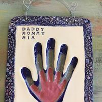 Family hand prints in clay with our signature textured border. Baby Hand And Foot Prints, Family Hand Prints, Baby Footprints, Clay Baby, Baby Hands, Pottery Studio, Bae, Baby Shower, Activities