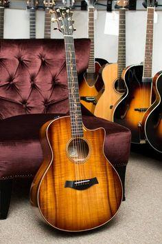 Taylor Custom Shop Hawaiian Koa Grand Symphony with Cutaway Music Guitar, Cool Guitar, Ukulele, Custom Bass Guitar, Taylor Guitars, Cool Electric Guitars, Guitar Collection, Gibson Guitars, Music Love